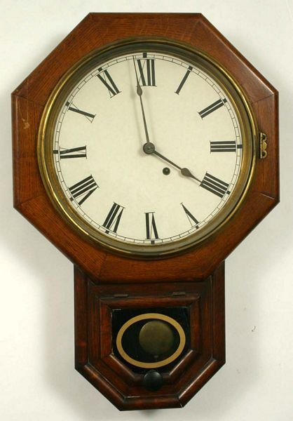 1109: 19TH C. OAK SETH THOMAS SCHOOLHOUSE CLOCK