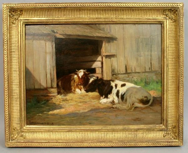 1166: SIGNED WM. HOWE, RECUMBENT COWS, OIL / PANEL