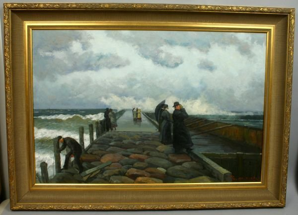 1306: SIGNED R.M. ZOY, ON JETTY DURING STORM, O/C