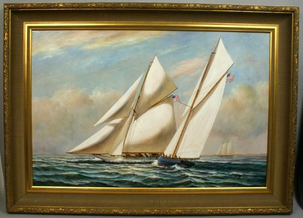 1312: SIGNED D. TAYLER, RACING SAIL BOATS, O/C