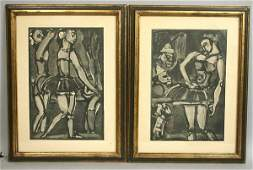 1318 SIGNED ROUAULT PAIR OF WOODCUT PRINTS 1932