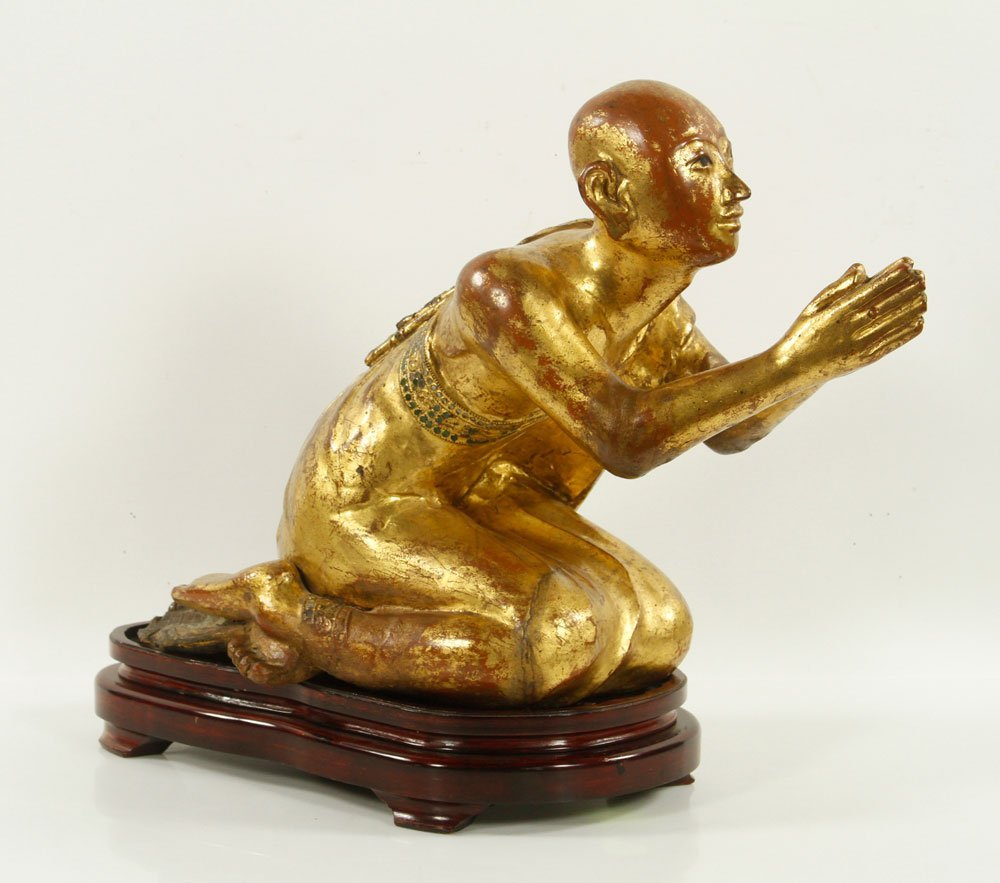 Carved Gilt Wood Praying Monk Figure