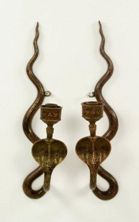 Pr. Egyptian Revival Cobra Sconces