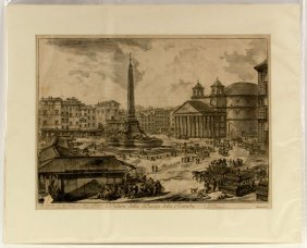 """Piranesi, """"veduta Della Piazza Della Rotunda,"""" Etching"""