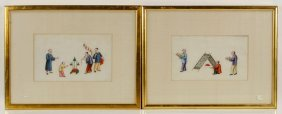 Two 19th C. Chinese Rice Paper Drawings