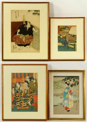 Lot Of 4 Japanese Woodblock Prints