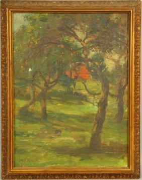 Berneker, Red Farm House, Oil On Canvas