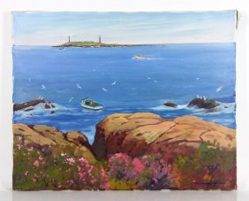 "James, ""twin Lights, Rockport Ma"", Oil On Canvas"