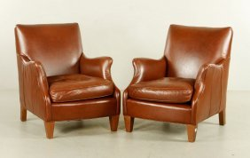 Pr. Leather Armchairs
