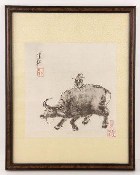 Boy With Water Buffalo, Print