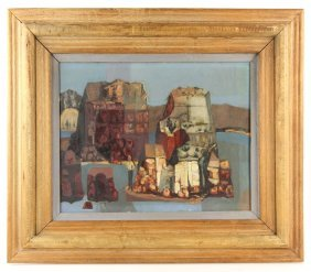 Abstract City Scene, Oil On Masonite
