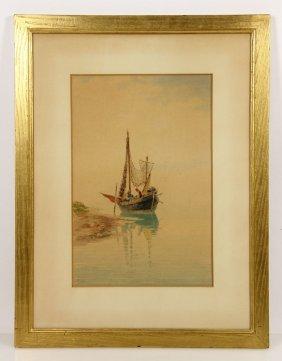 Galter, Fishermen In Boat, Watercolor