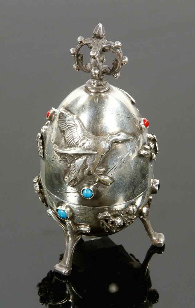 Russian Silver Hunting Egg - 2