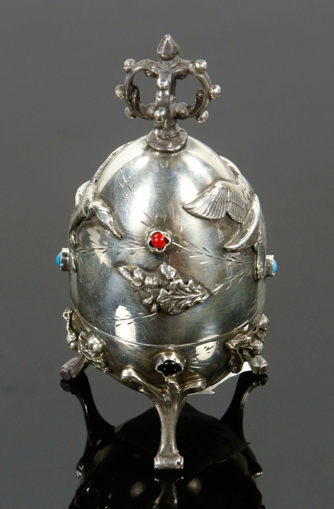 Russian Silver Hunting Egg - 3