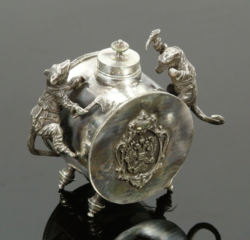 Russian Silver Inkwell - 2