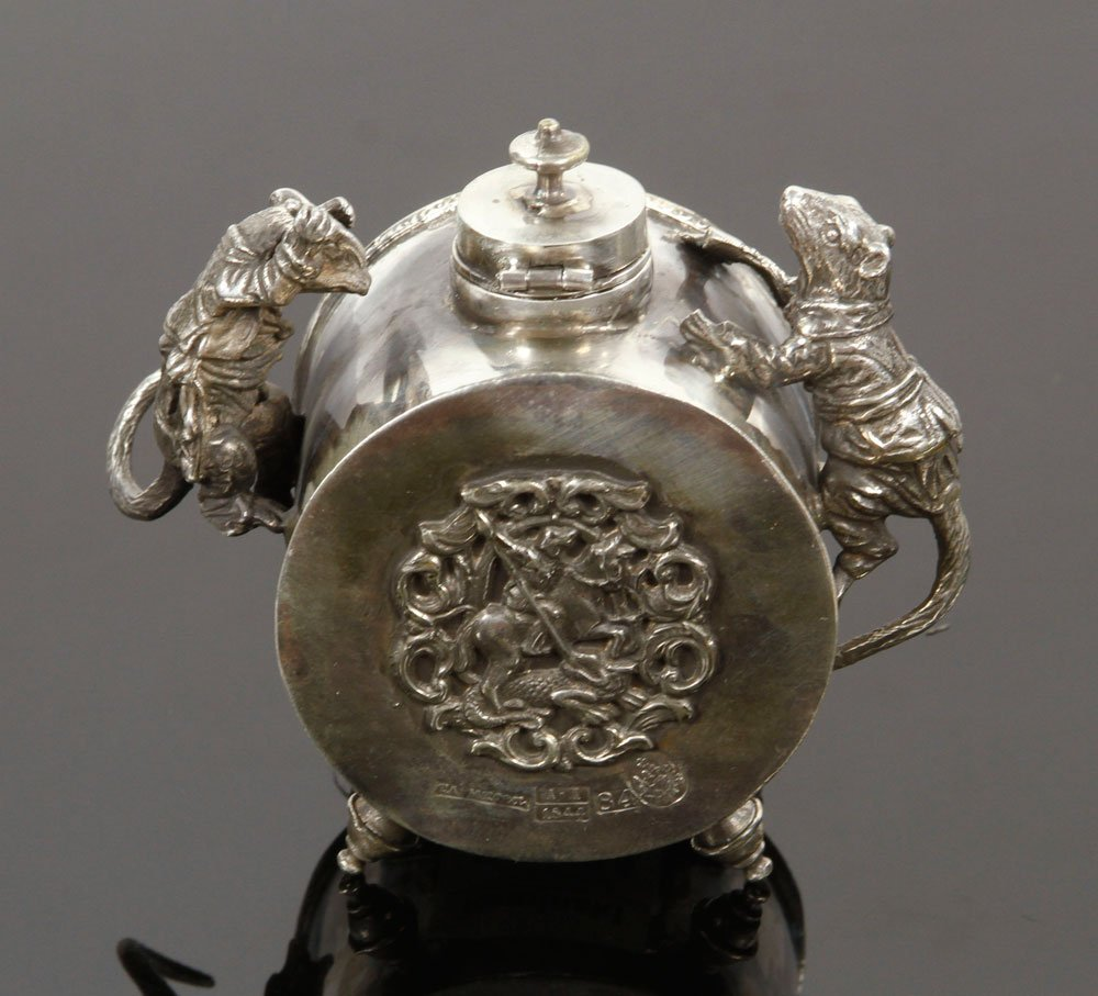 Russian Silver Inkwell - 3