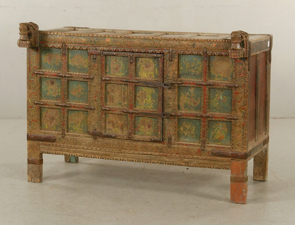 Asian Polychrome Carved Chest