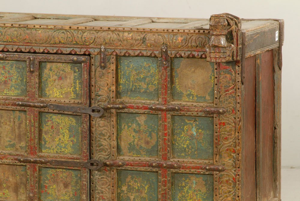 Asian Polychrome Carved Chest - 2