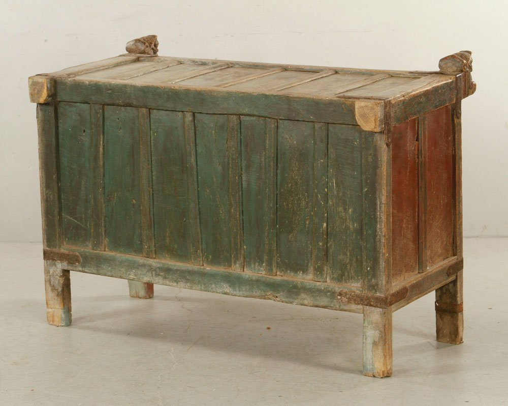 Asian Polychrome Carved Chest - 4