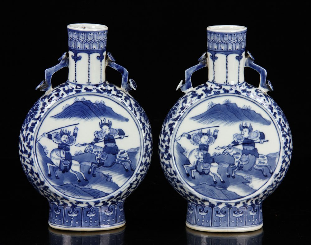 Pr. Chinese Blue and White Porcelain Vases