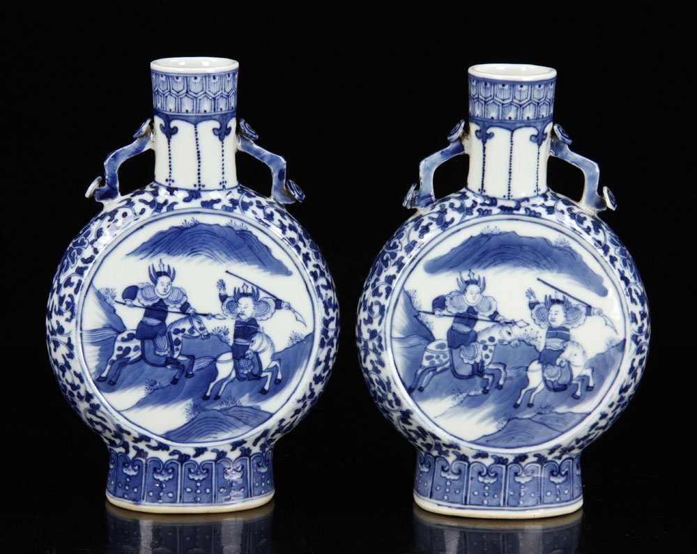 Pr. Chinese Blue and White Porcelain Vases - 2