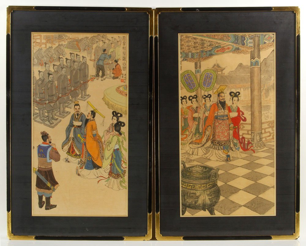 Two Chinese Imperial Watercolors