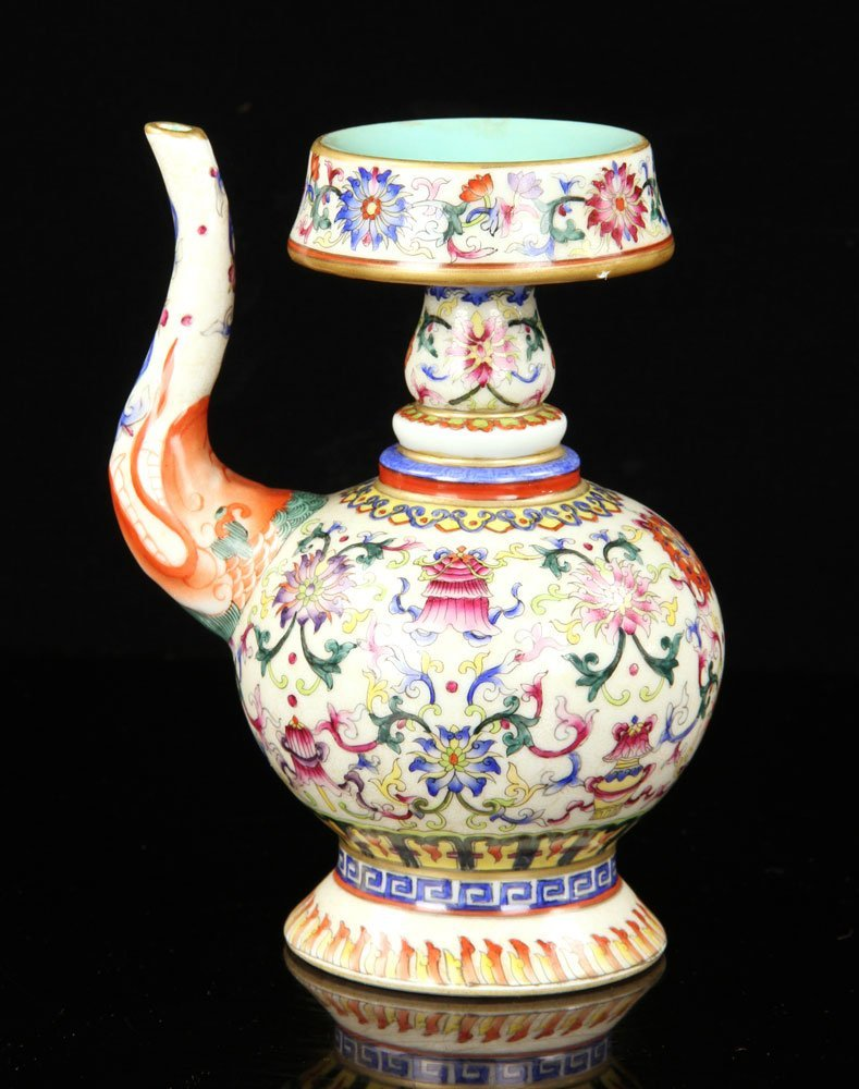 Chinese Famille Rose Porcelain Wine Pot - 2