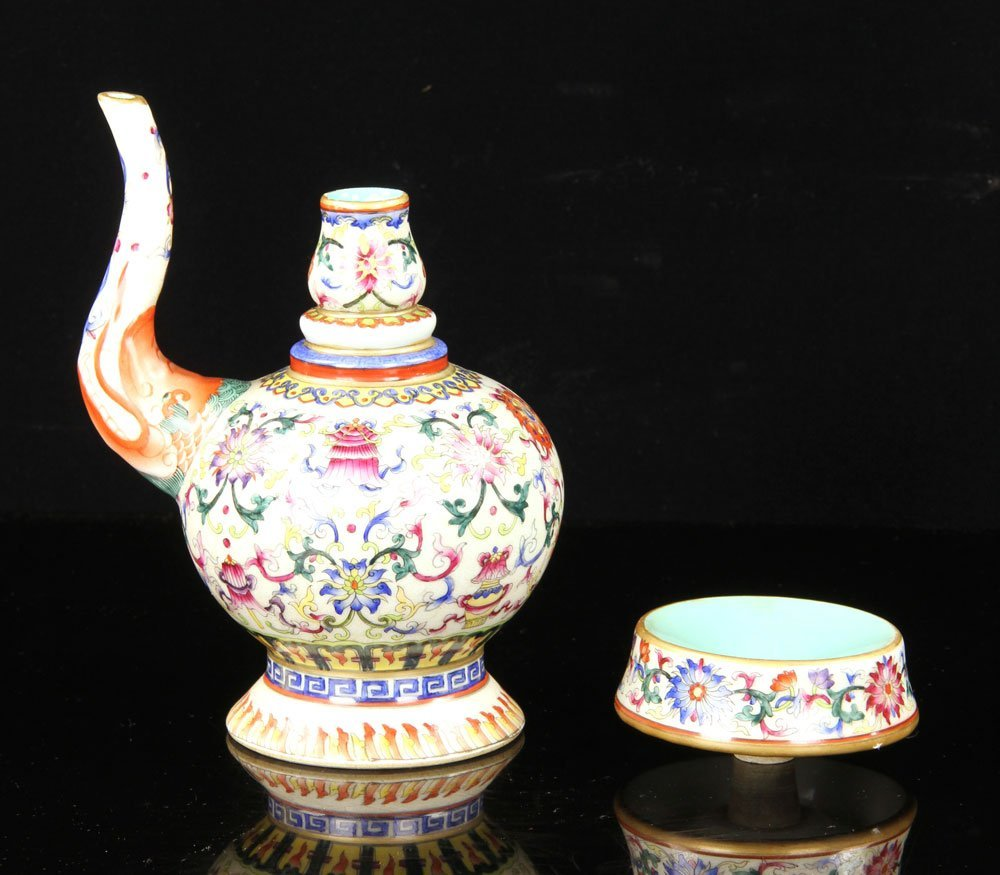 Chinese Famille Rose Porcelain Wine Pot - 3