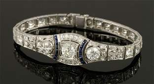Art Deco Platinum, Diamond and Sapphire Bracelet
