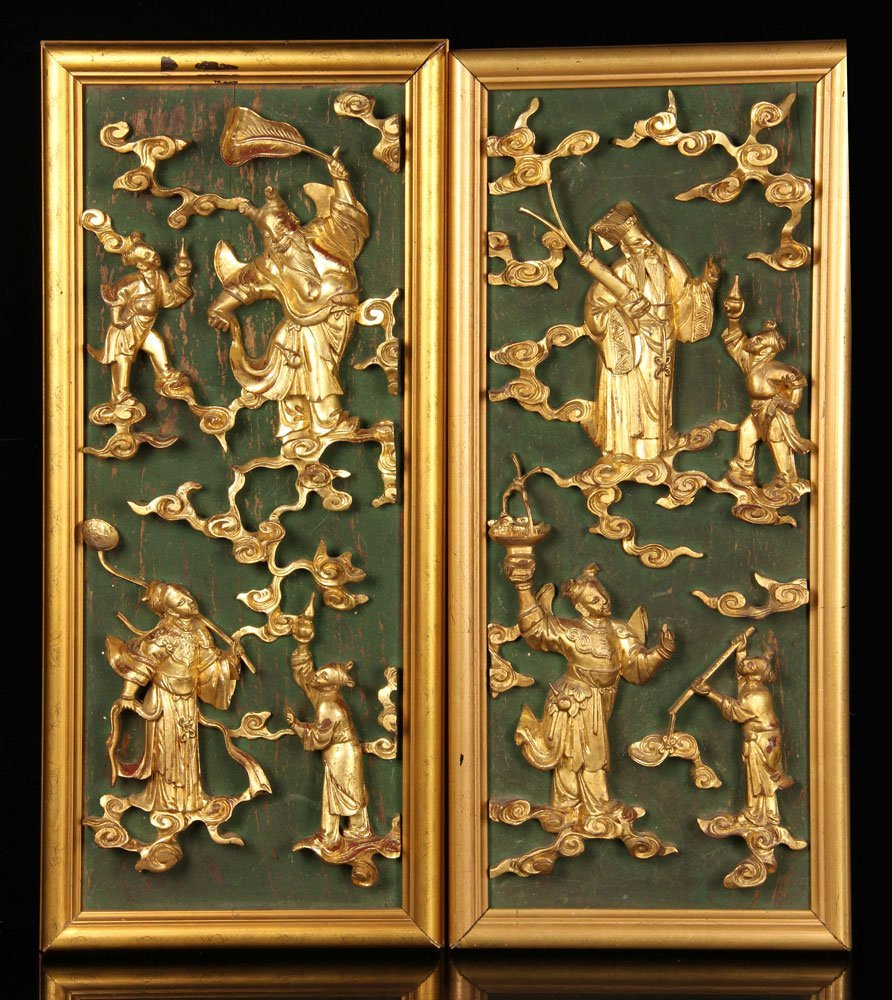 Pr. Carved Wood Panels