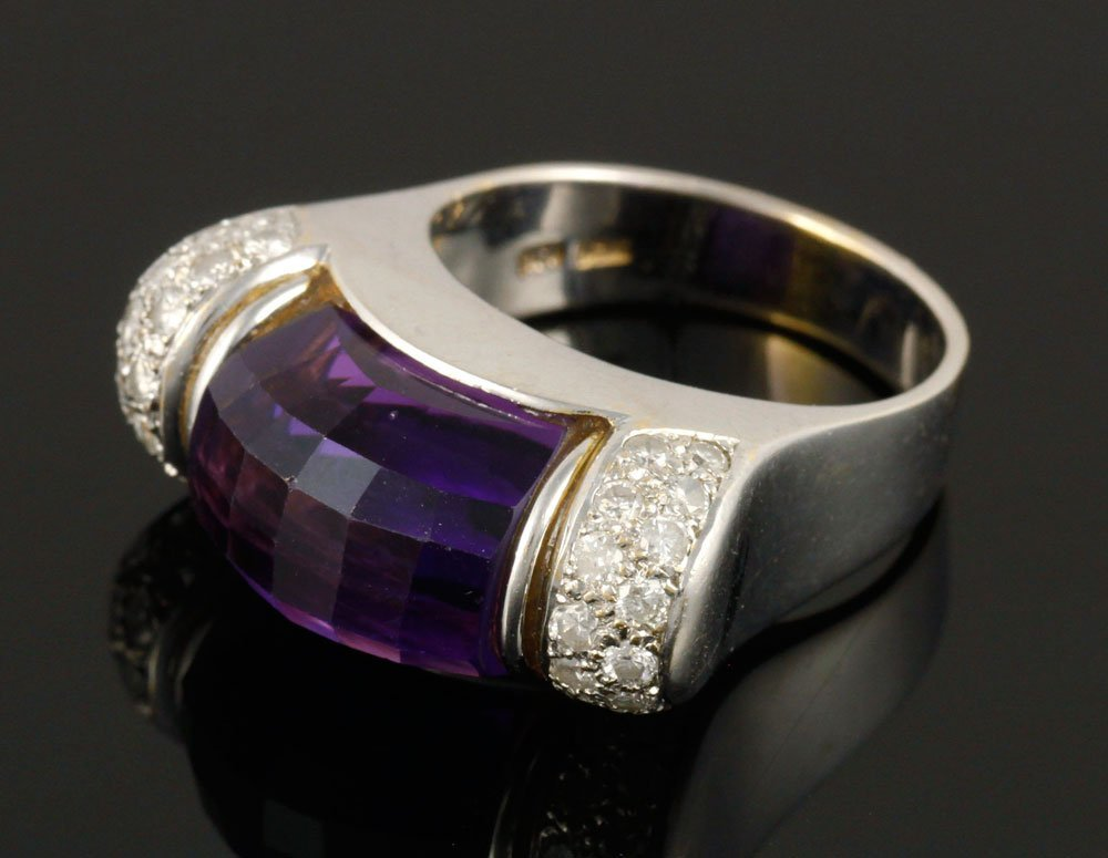 Ladies' 18K Gold, Diamond and Amethyst Ring