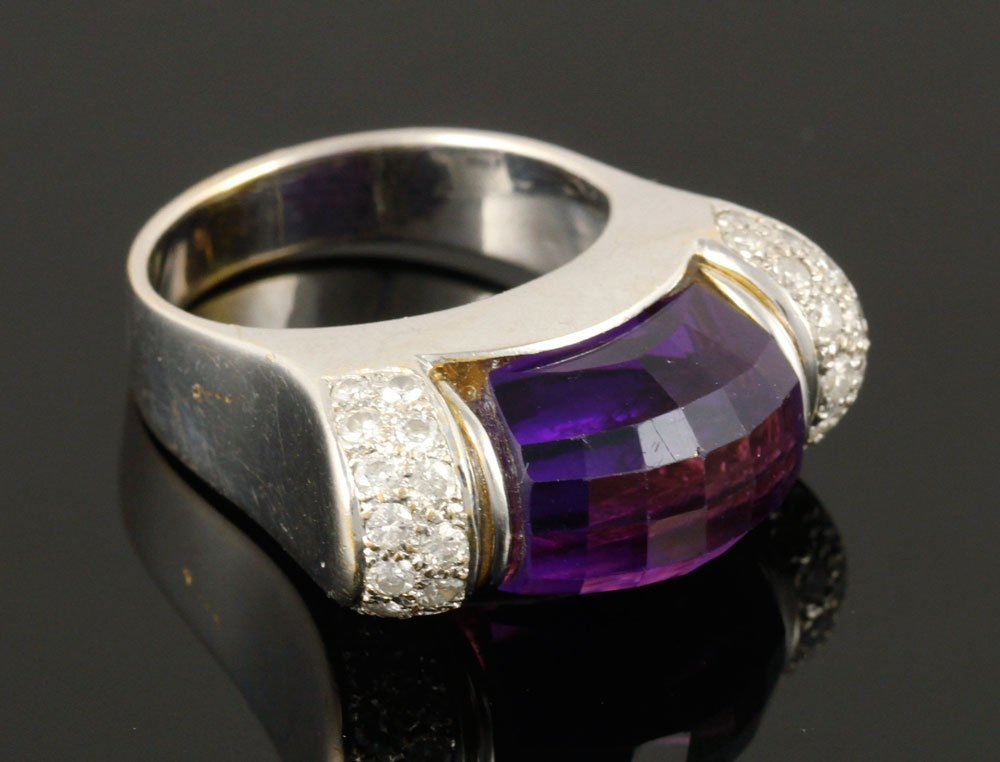 Ladies' 18K Gold, Diamond and Amethyst Ring - 2
