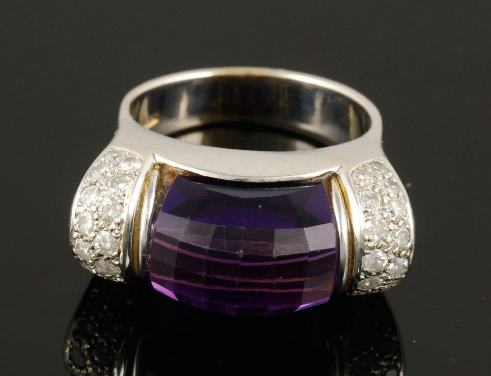 Ladies' 18K Gold, Diamond and Amethyst Ring - 3