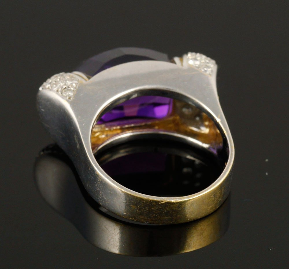 Ladies' 18K Gold, Diamond and Amethyst Ring - 4