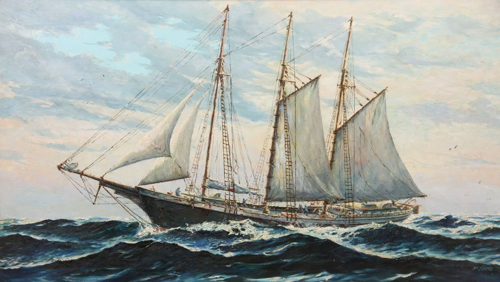 Yorke, Schooner, Oil on Canvas - 2