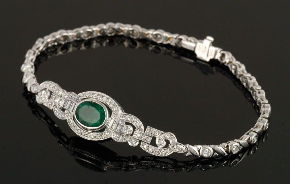 Ladies' Emerald and Diamond Bracelet