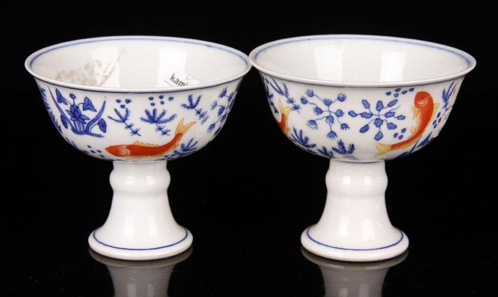 Two Jiajing High Foot Cups - 2