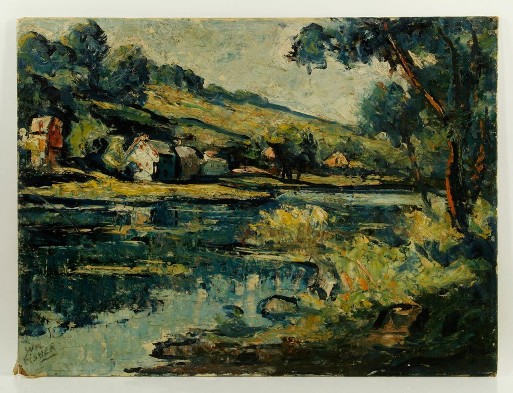 Fisher, Cottage Scene, Oil on Canvas Board