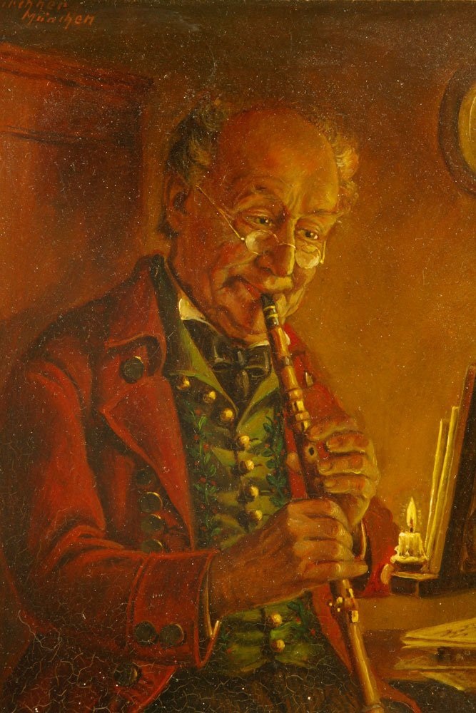 Flute Player, Oil on Canvas - 3