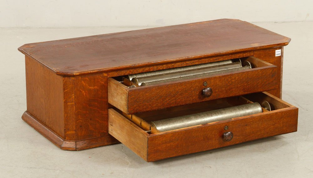 Oak Box with 5 Music Box Cylinders