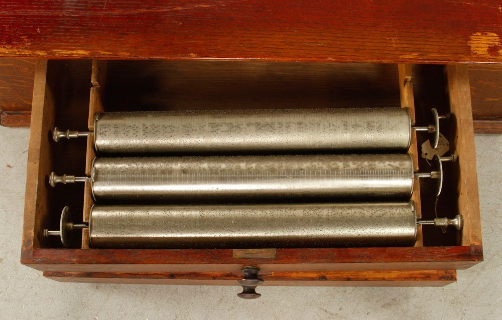 Oak Box with 5 Music Box Cylinders - 3