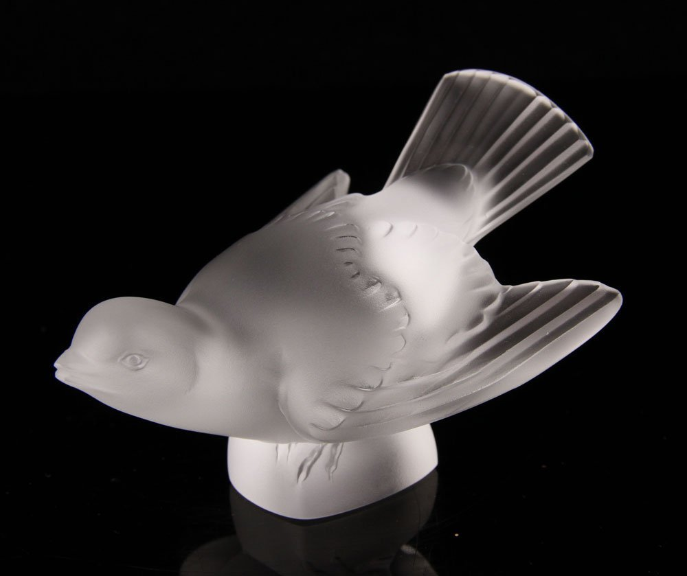 Four Lalique Frosted Glass Sparrows - 4