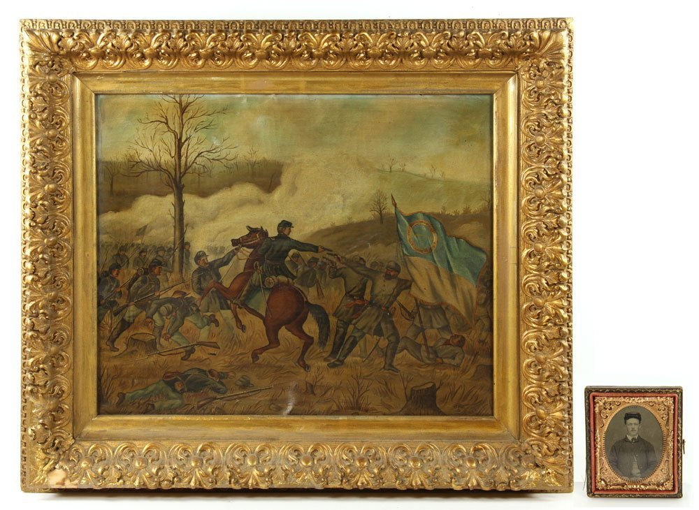 Civil War Battle, Oil on Canvas
