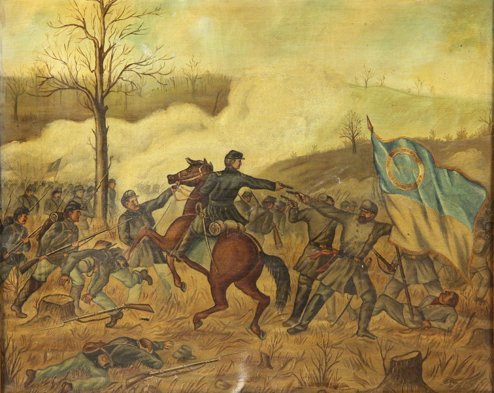 Civil War Battle, Oil on Canvas - 3