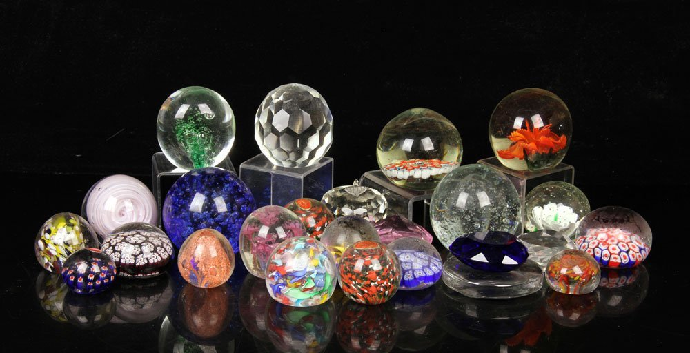 Collection of 25 Glass Paperweights
