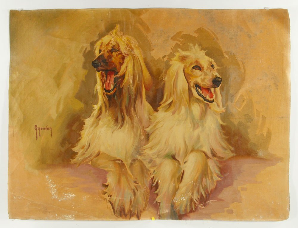 Two Hounds, Oil on Canvas