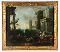 """After Lorrain,""""Embarkation of the Queen,"""" Oil on Canvas"""
