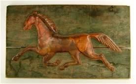 American Folk Art Copper Horse Plaque