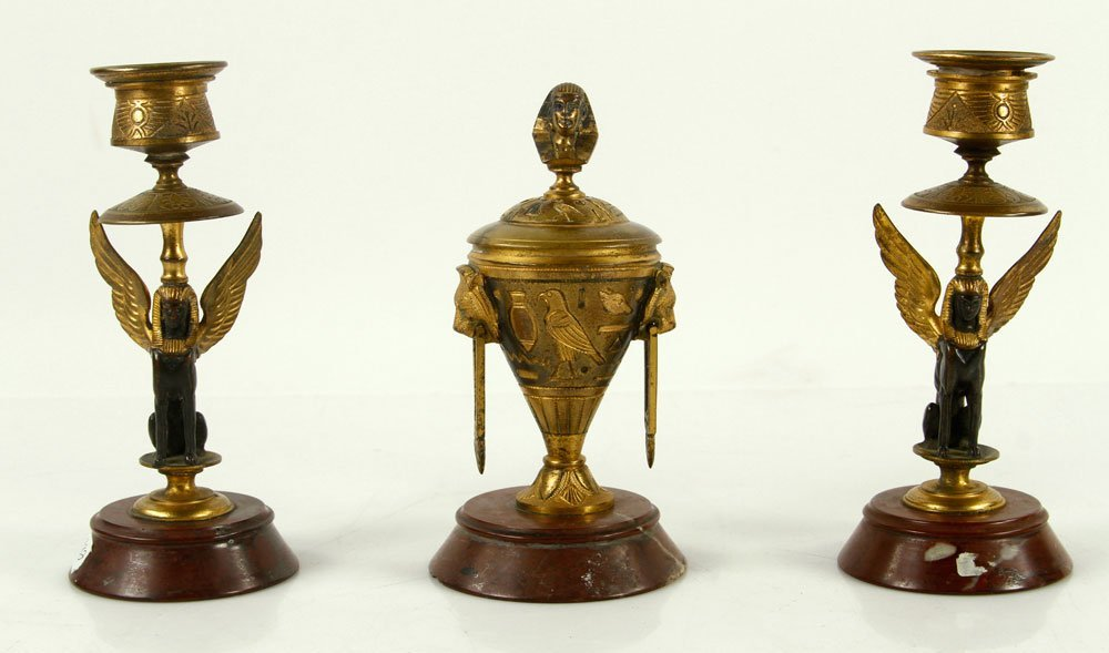 Egyptian Revival Bronze Inkwell and Candlesticks