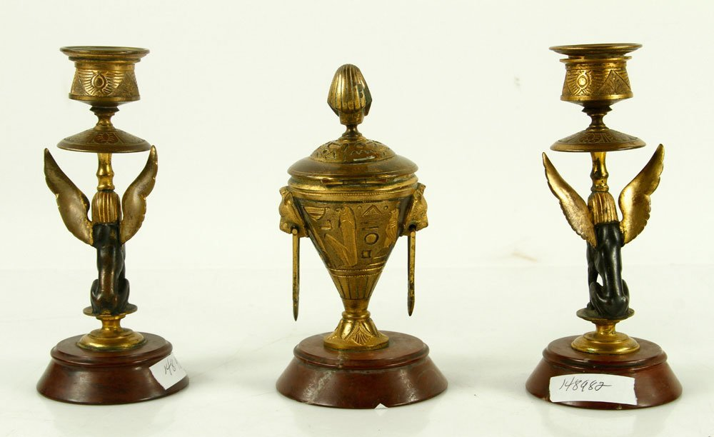 Egyptian Revival Bronze Inkwell and Candlesticks - 2